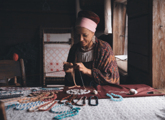 Woman working on craft