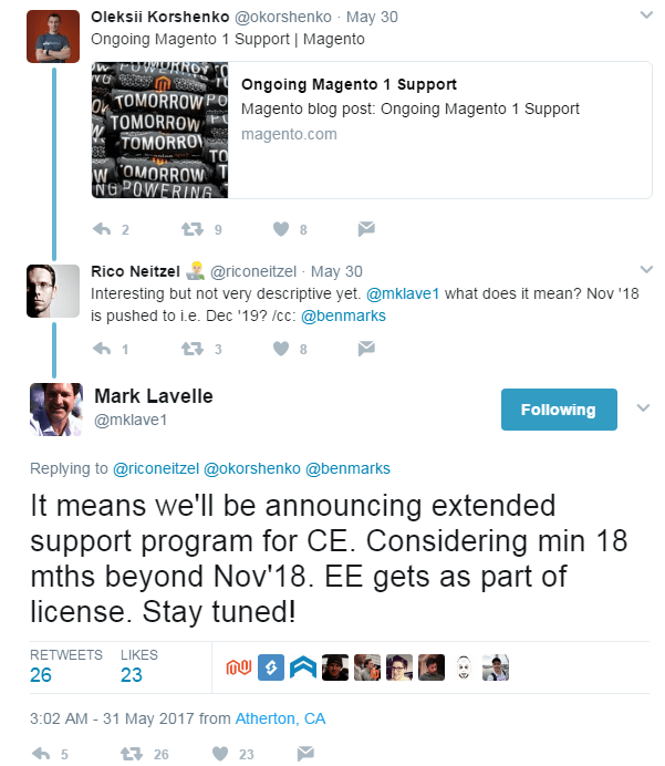 Magento 1 tweet ceo mark lavelle