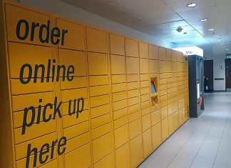 "Image: Wikipedia Creative Commons | Amazon Locker ""Faust"" on the first floor of One New Change"