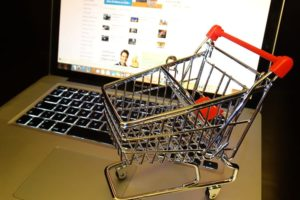 black friday shopping cart on laptop