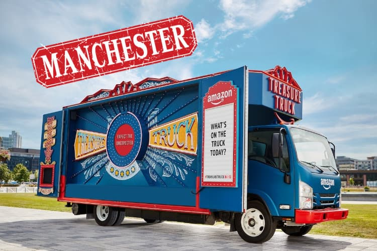 The Amazon Treasure Truck Arrives in Manchester