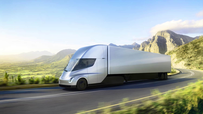 tesla trucks on road concept