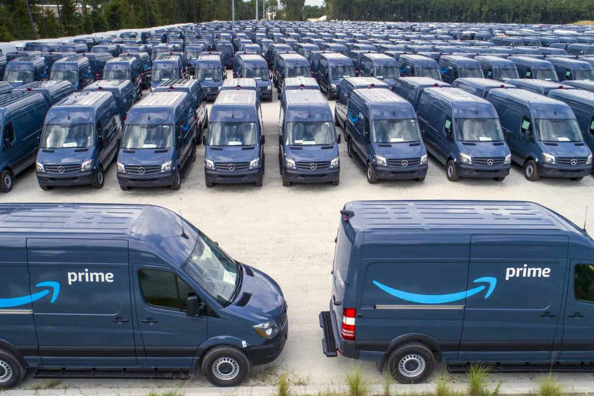 Amazon vans parked