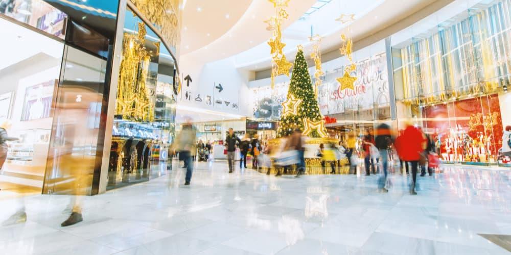 holiday season shopping mall blur
