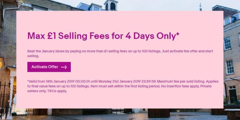 eBay UK Promotion Caps Selling Fees at £1 – Valid Until Monday 21st January