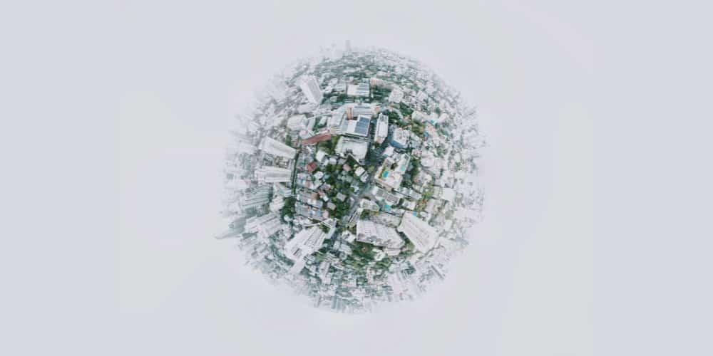 globalization city globe view