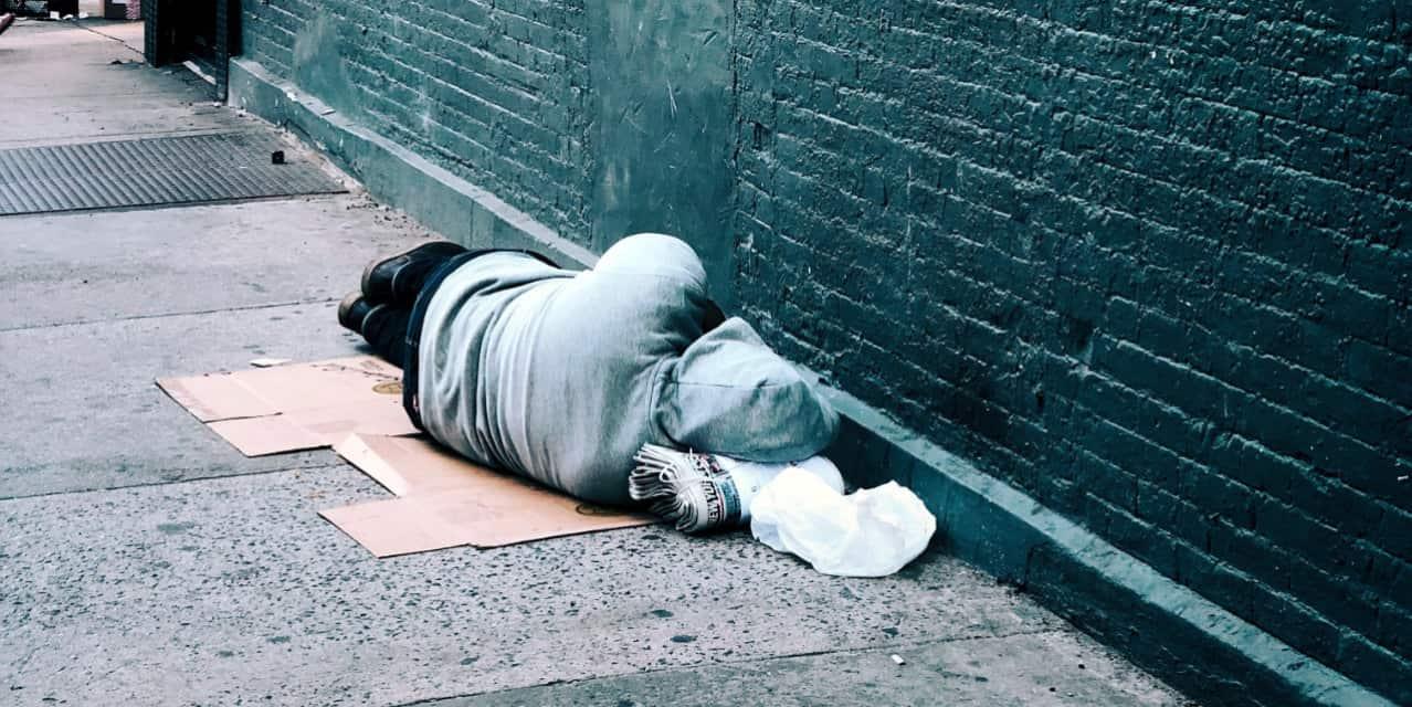 homeless sleeping street