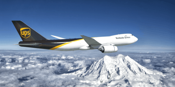 UPS 747-8 over mountains