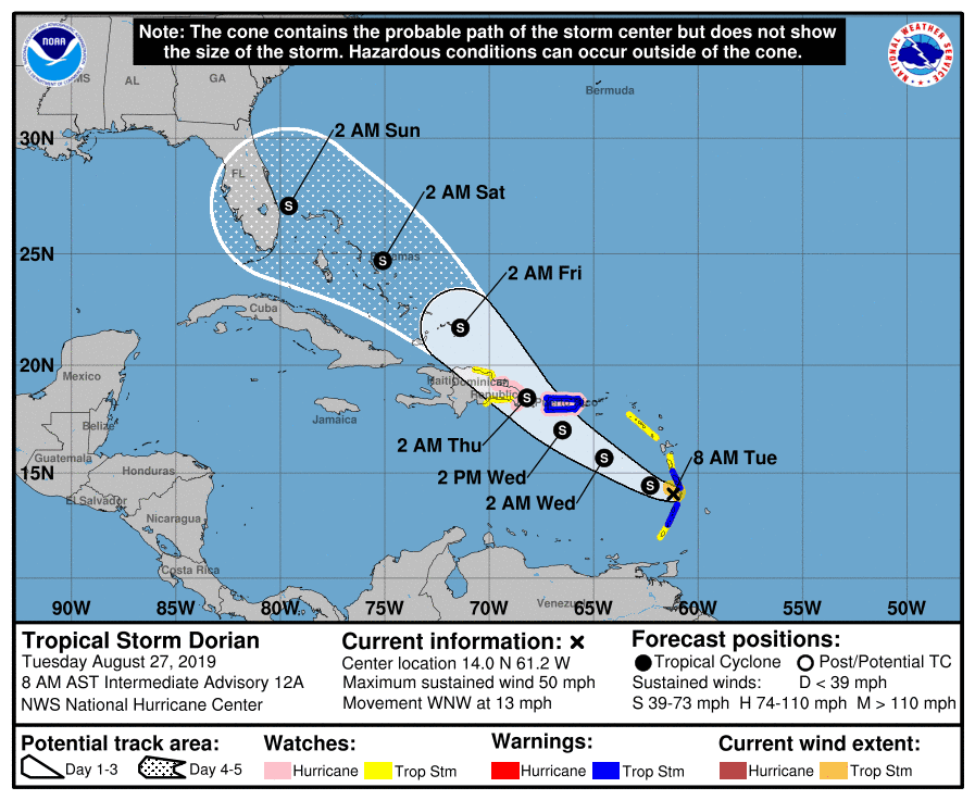 Tropical Storm Dorian NHC 5-Day Cone on Tuesday August 27, 2019