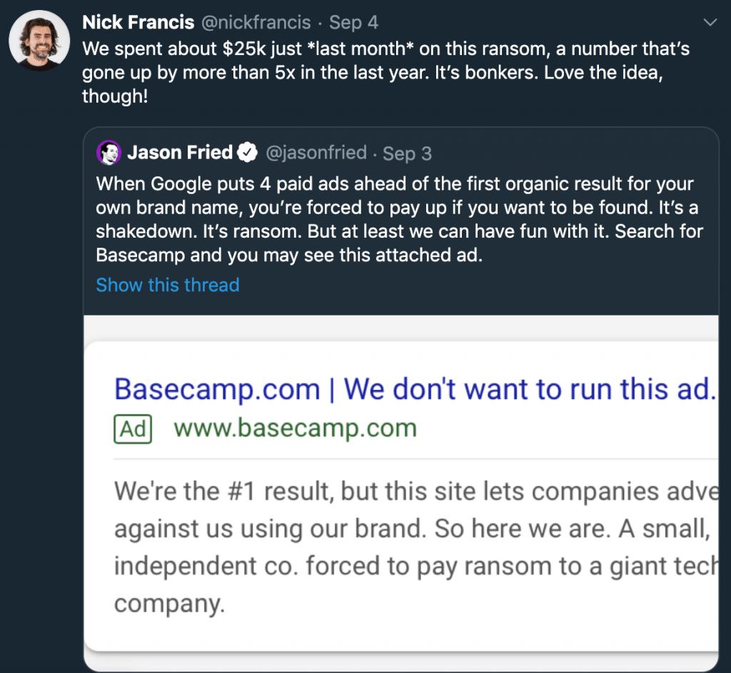 Nick Francis ads tweet