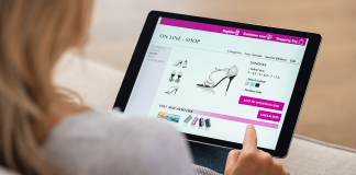 Woman shopping online on tablet