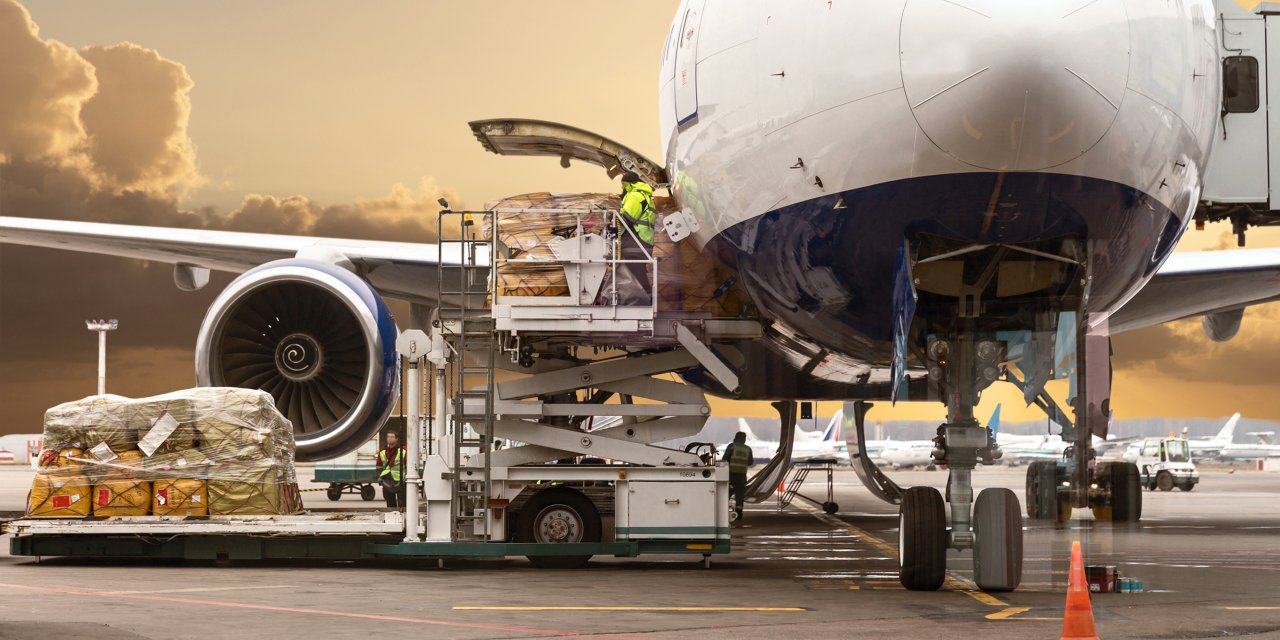 Aircraft loading cargo