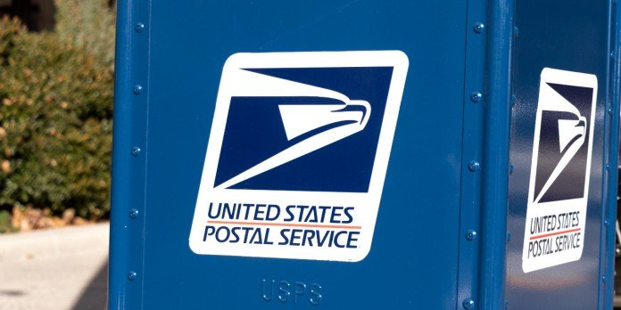U.S. Postal Service blue mail box