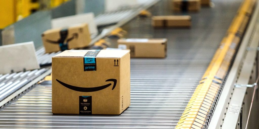 Amazon Prime package on conveyor in fulfillment center