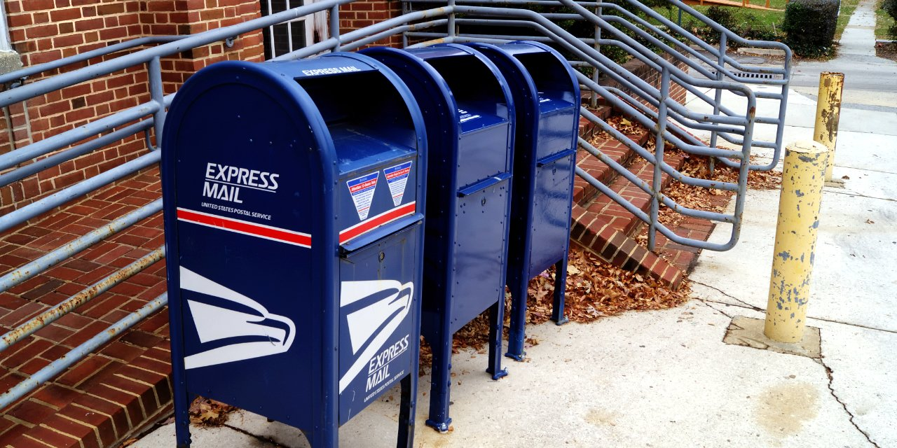 U.S. Postal Service collection boxes outside post office