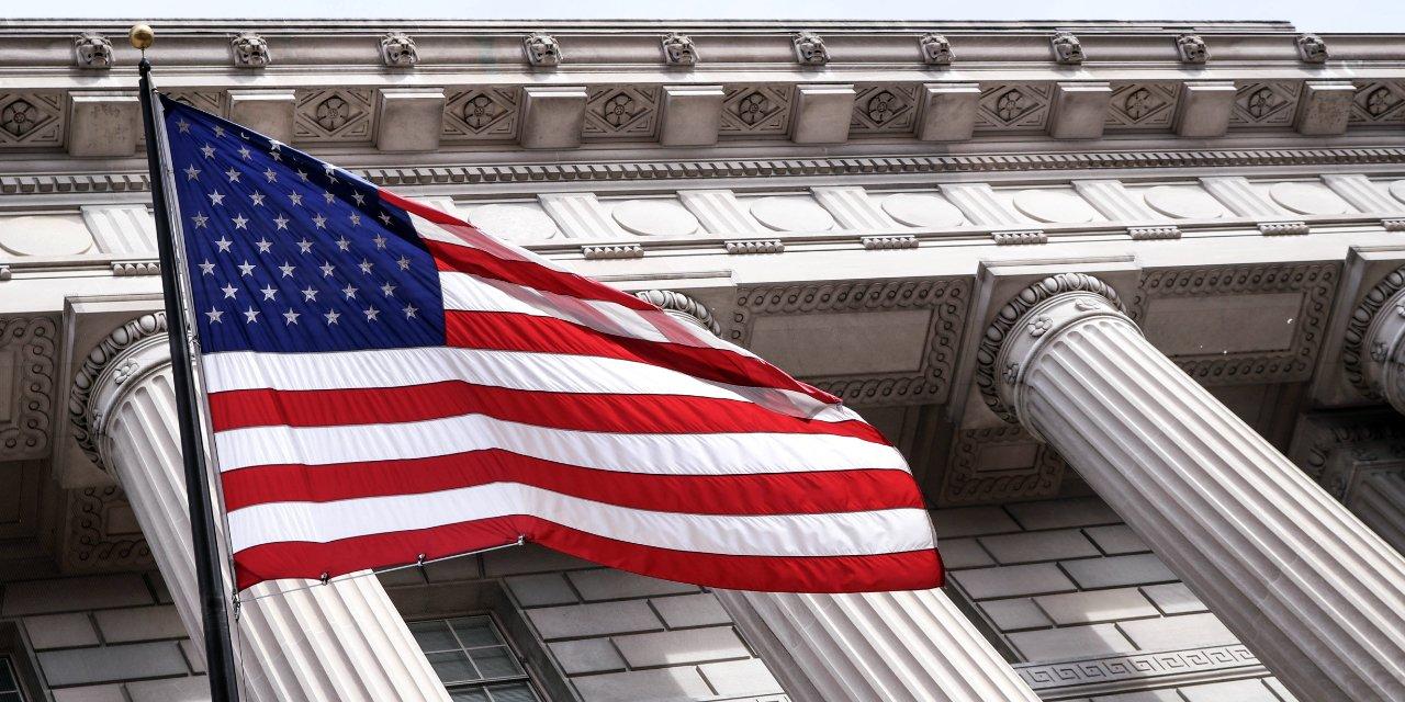 USA Flag Government Building