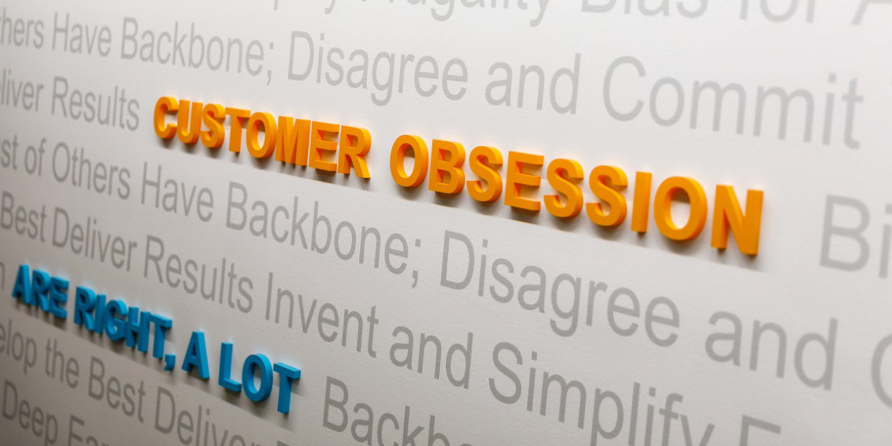 Amazon customer service obsession quotes on wall