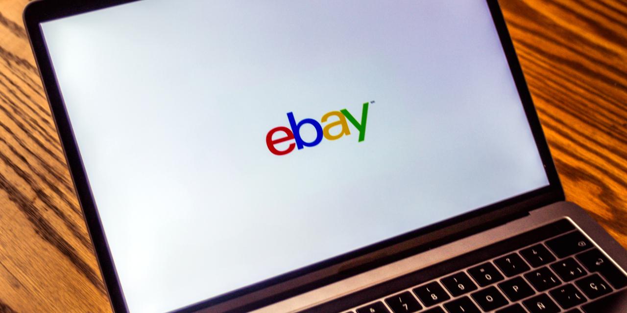 eBay logo on laptop screen