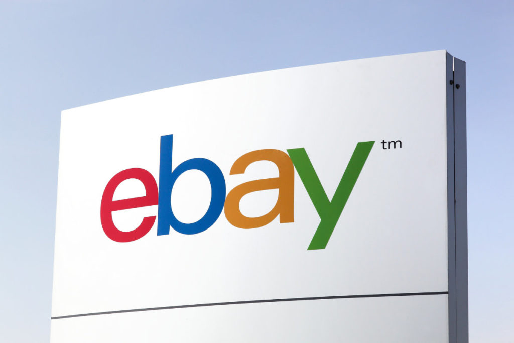 eBay logo on white sign