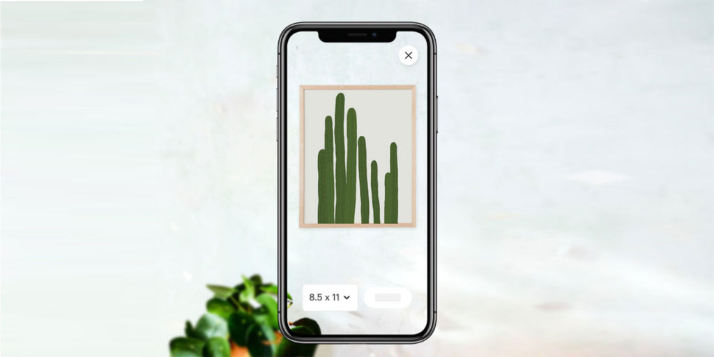 Etsy IOS app showing augmented reality feature