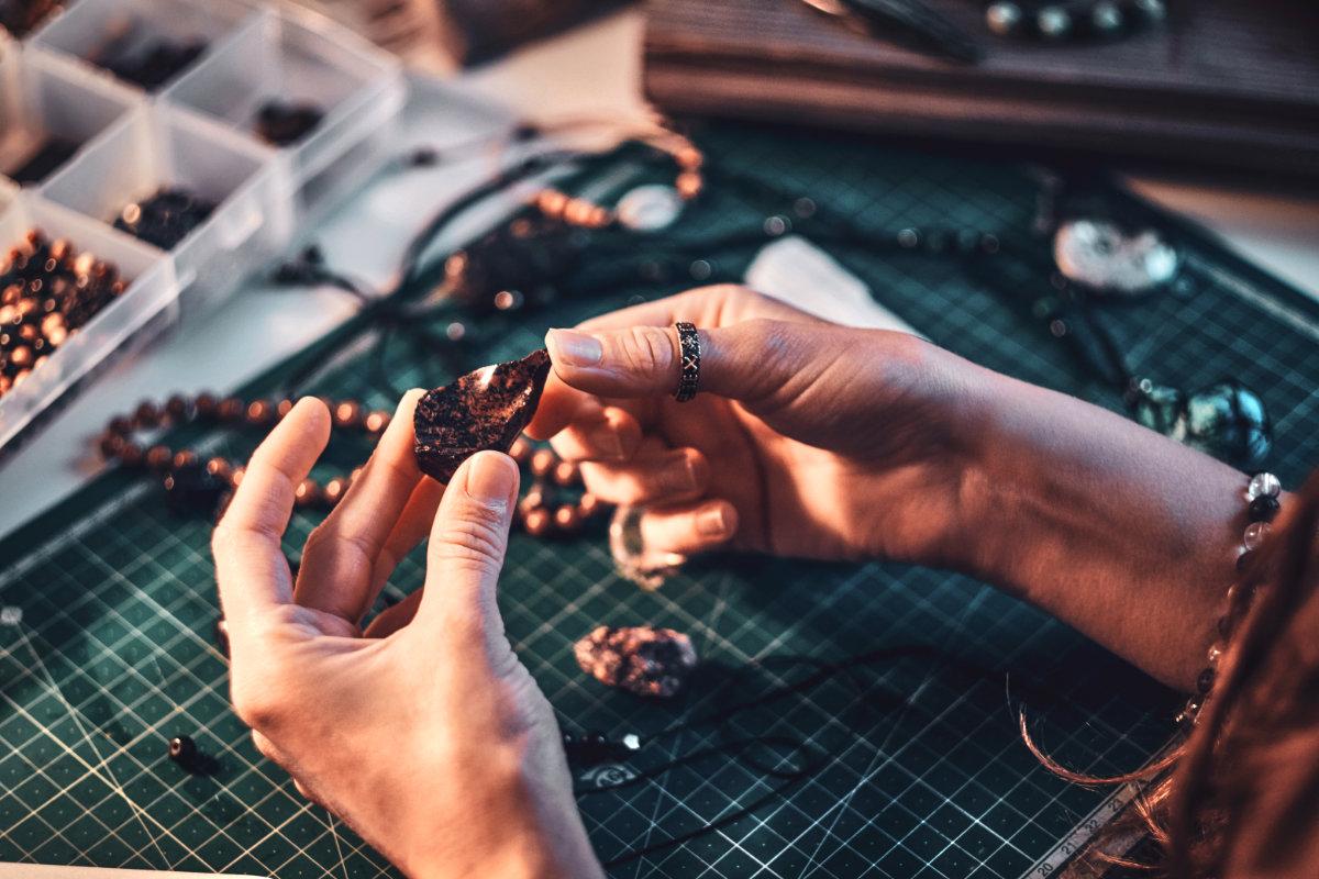 Indigenous Woman Making Jewelry
