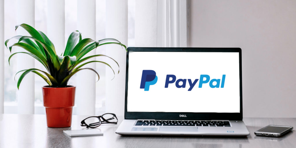 Laptop with PayPal logo