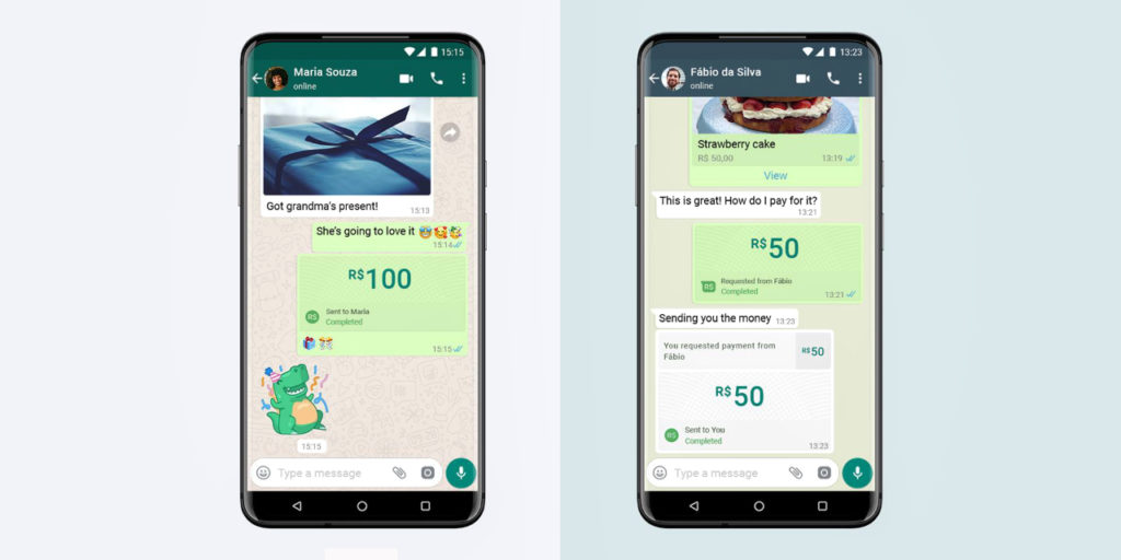 WhatsApp digital payments feature inside chat for Brazilian users