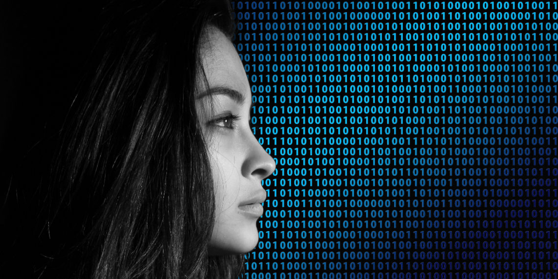 Woman with binary concept depicting fraud and security concept