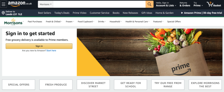 Amazon UK Partners with Morrisons To Offer Free Grocery Delivery For Prime Members