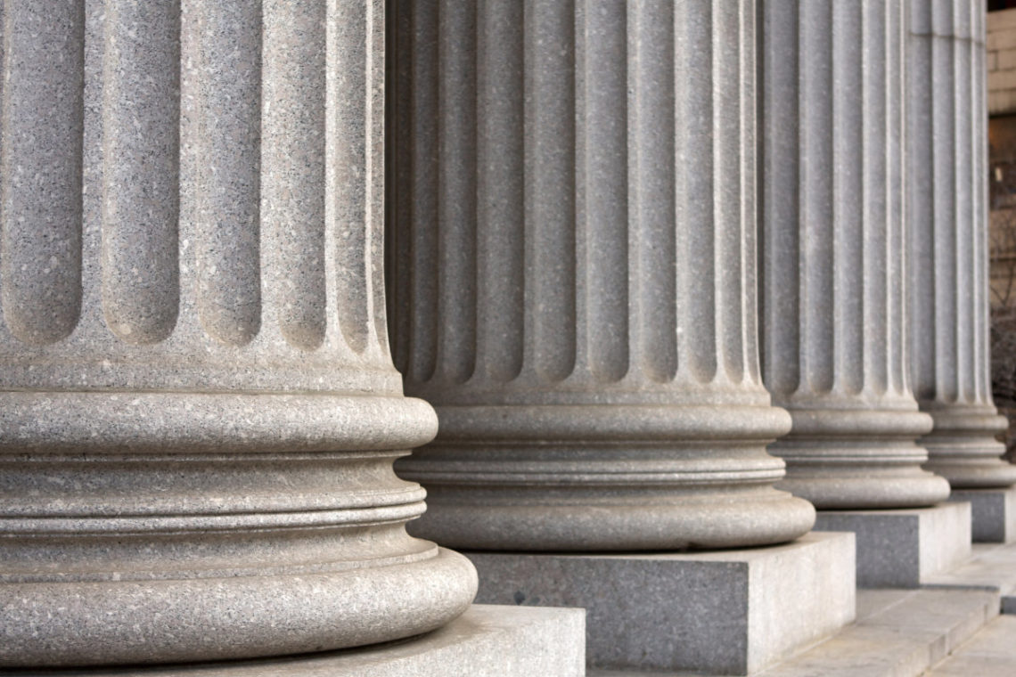 Architectural columns of the New York Supreme Court Building