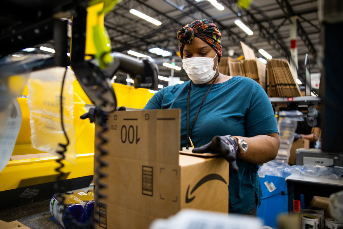 Amazon associate working in fulfillment center