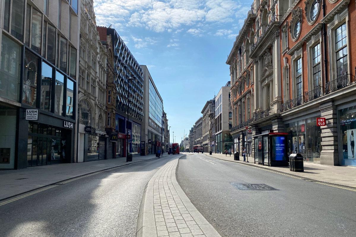 Empty street in London during COVID lockdown