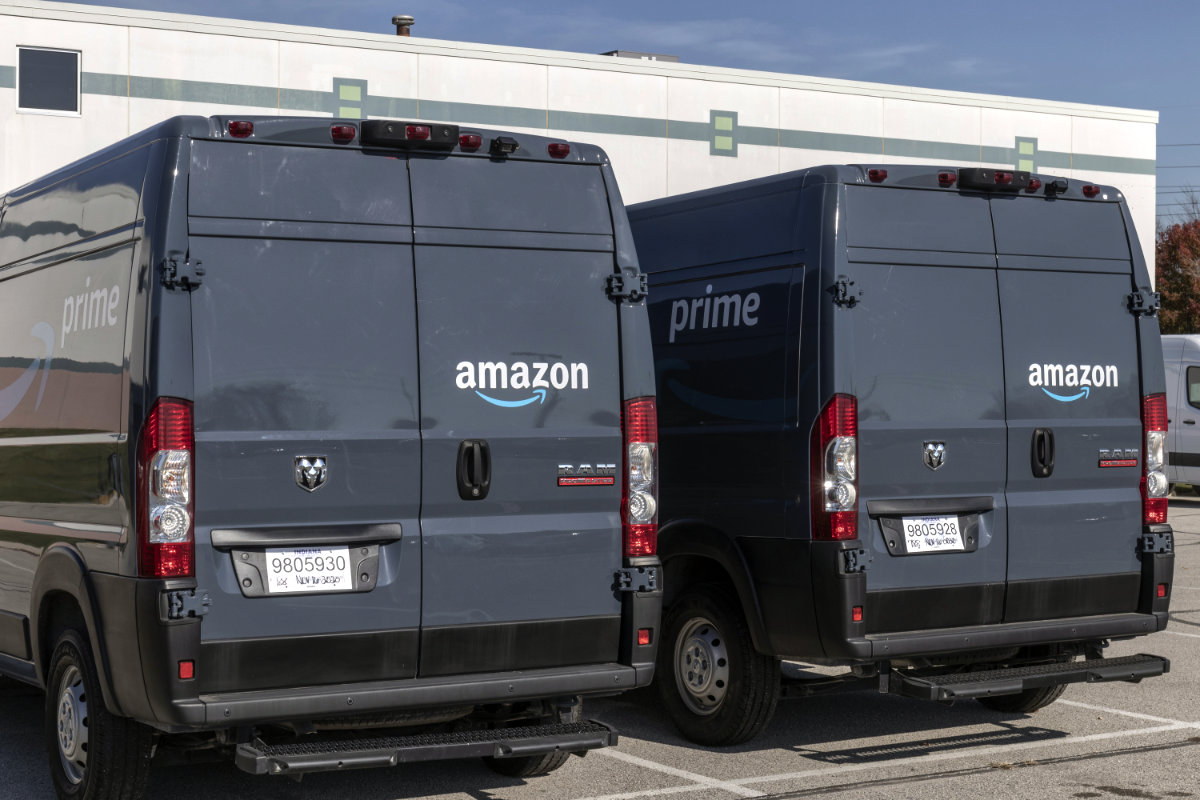 Amazon vans at delivery station