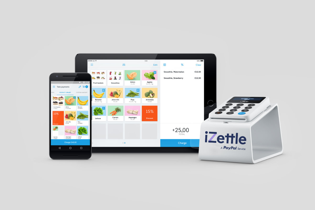 iZettle payment screens and card reader