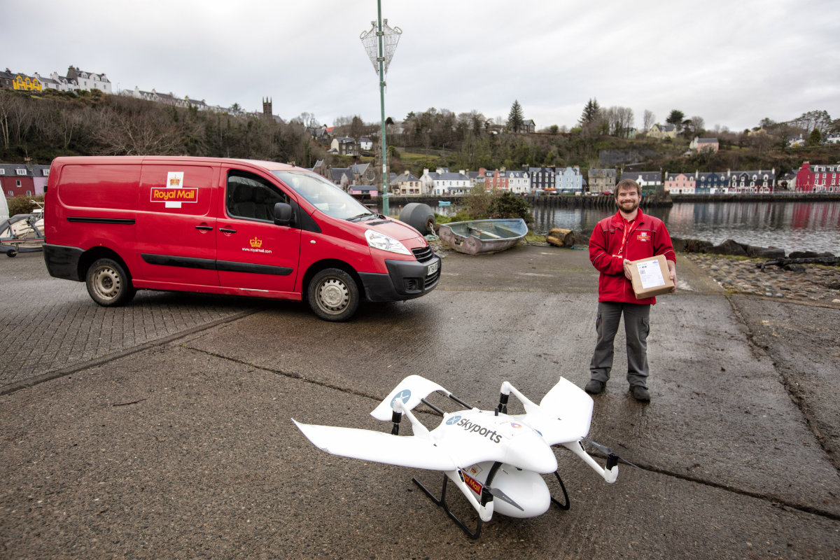 Royal Mail makes first delivery by drone on the Isle of Mull as part of a new trial to serve remote locations better
