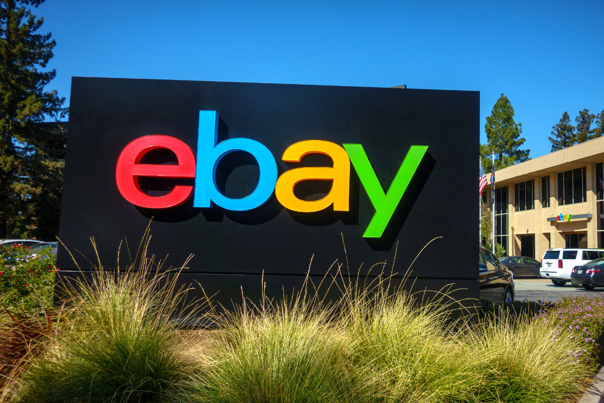 Ebay outdoor logo at company headquarters in silicone valley
