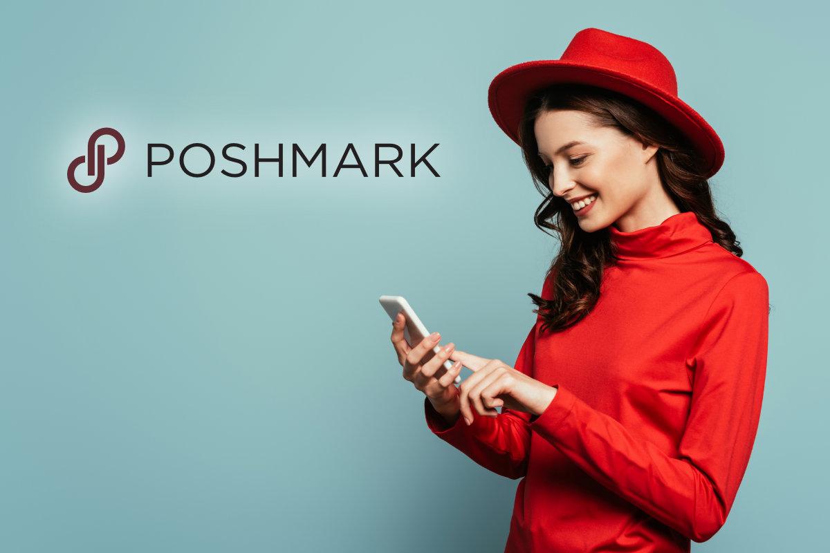 Poshmark young woman shopping on smartphone