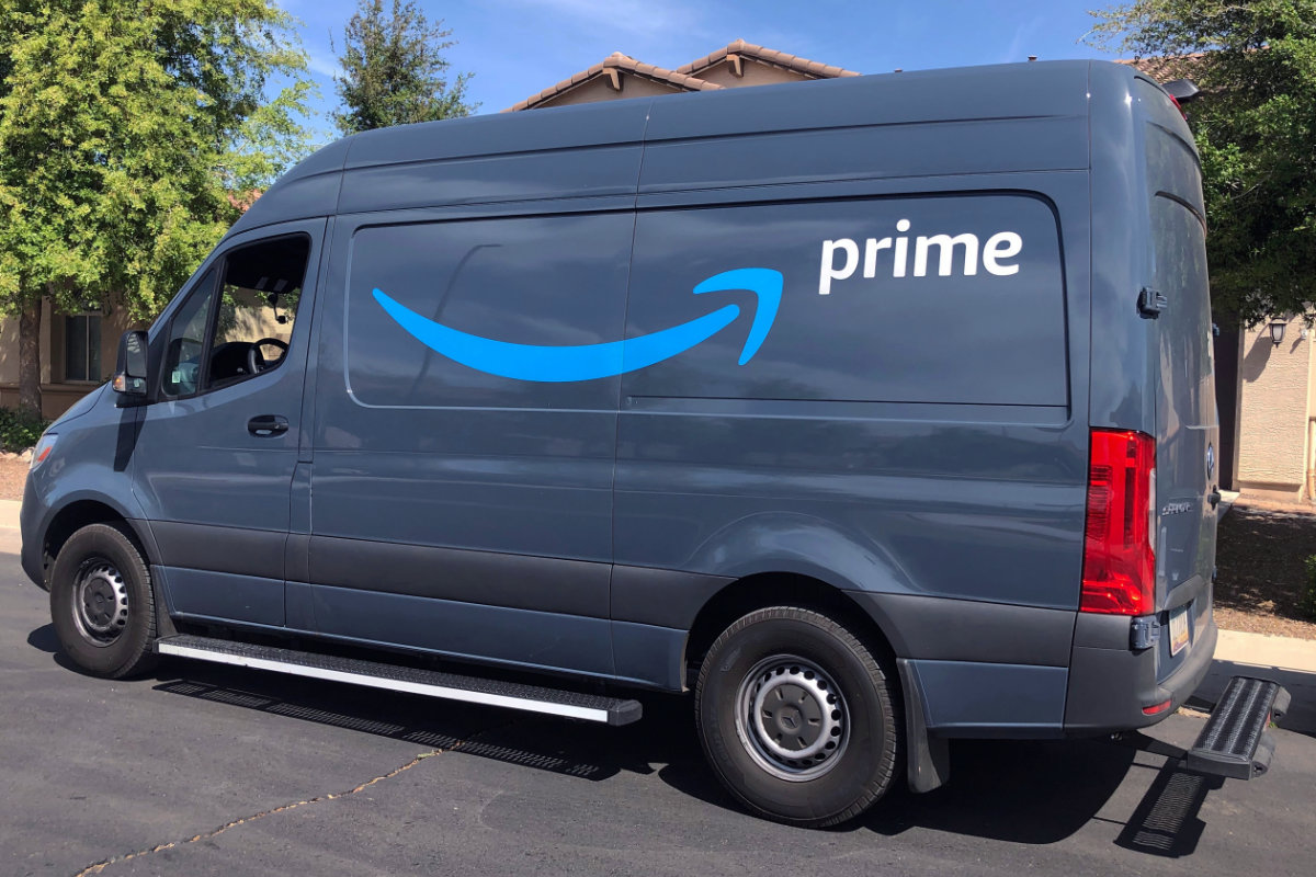 Amazon delivery van with Driveri parked on a residential street