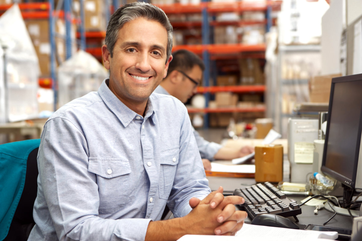 Small business owner in warehouse