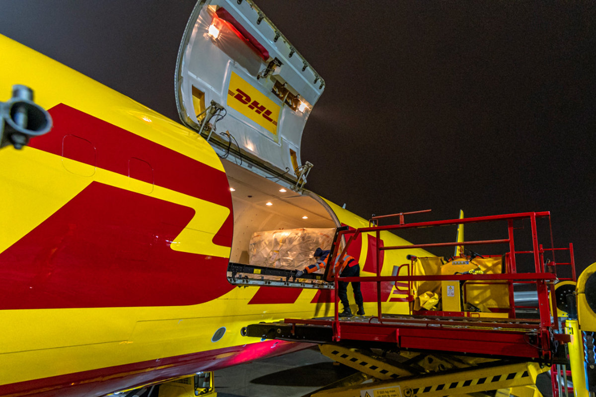 DHL Express plane being loaded