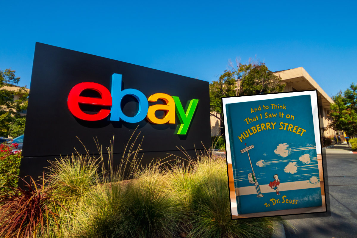 eBay sign with Dr. Suess book