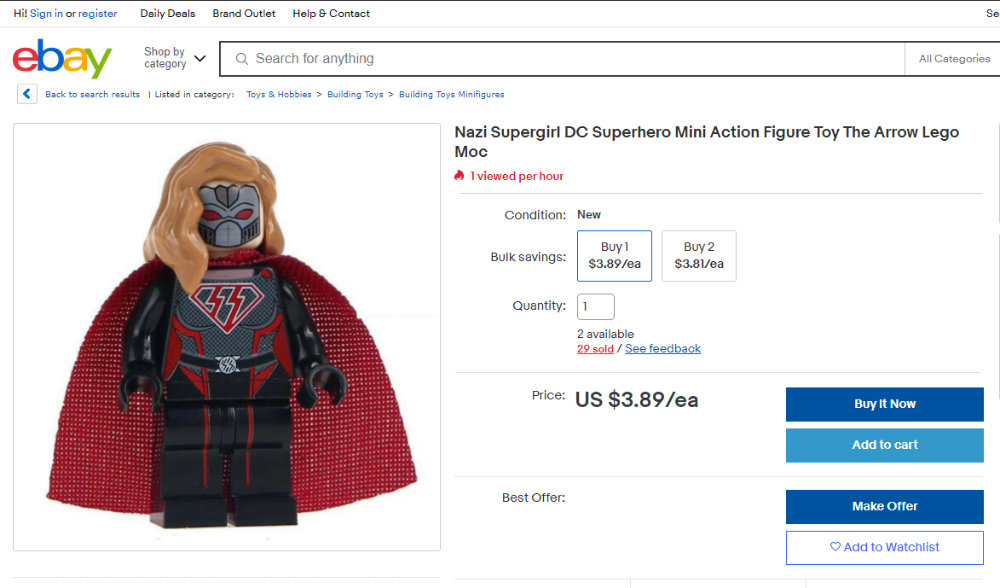 Action figure for sale on eBay with Nazi SS insignia
