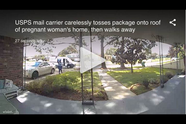 USPS Mail Carrier Carelessly Delivers Package To Roof of Pregnant Woman's Home