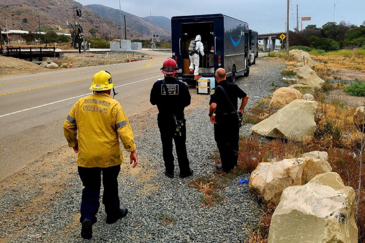 CHP and Fire Department in Ventura County Investigate Chemical Odor From Amazon Delivery Truck