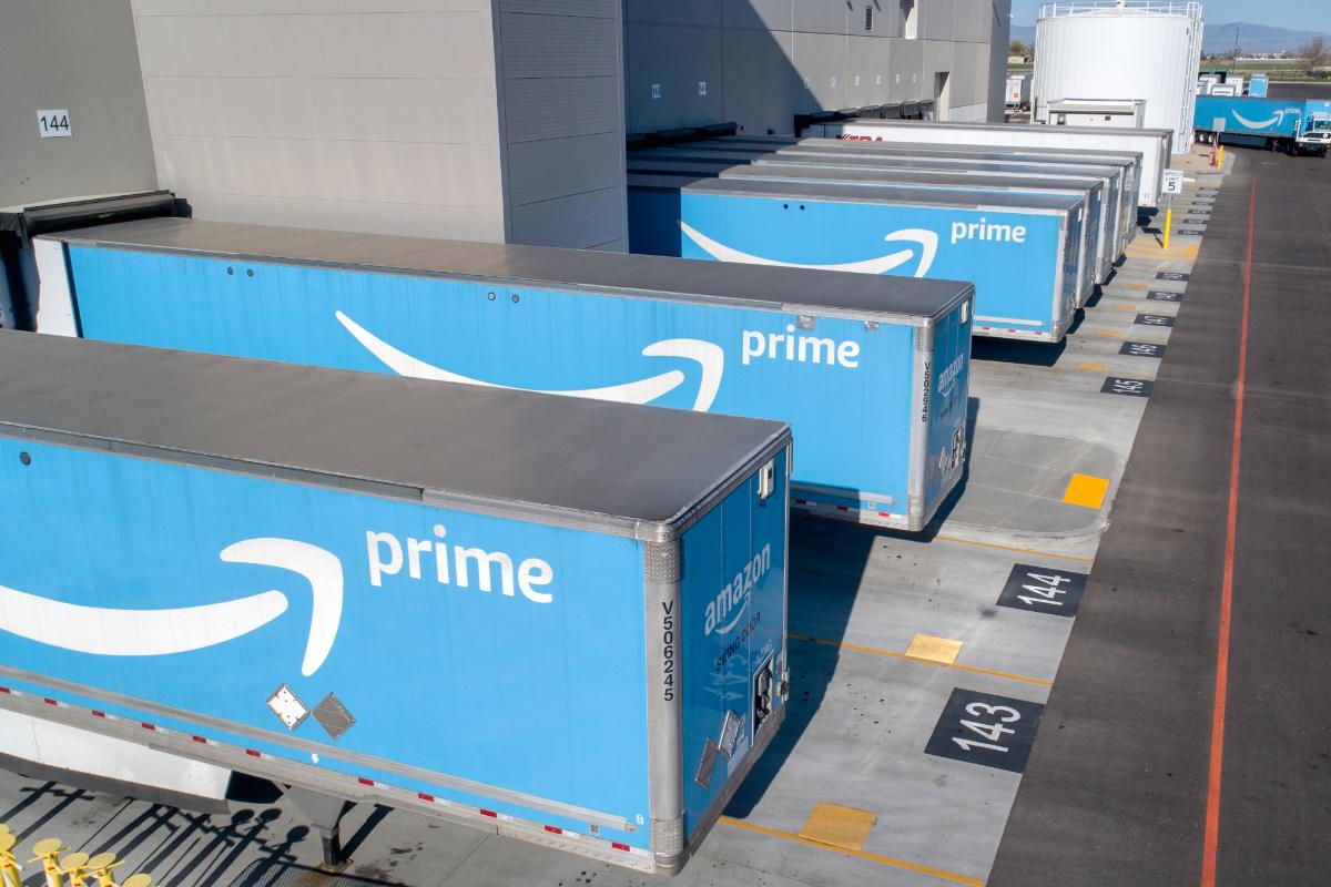 Amazon trailers parked at Idaho fulfillment center
