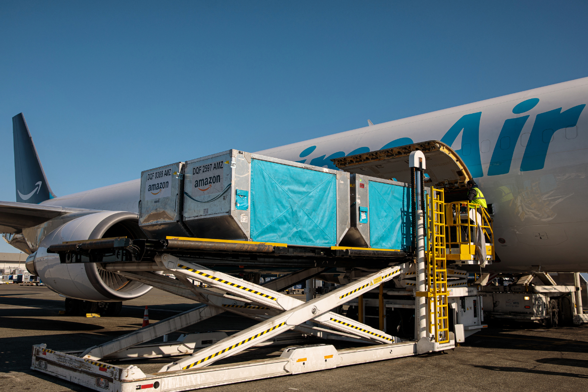Amazon Air cargo plane being loaded