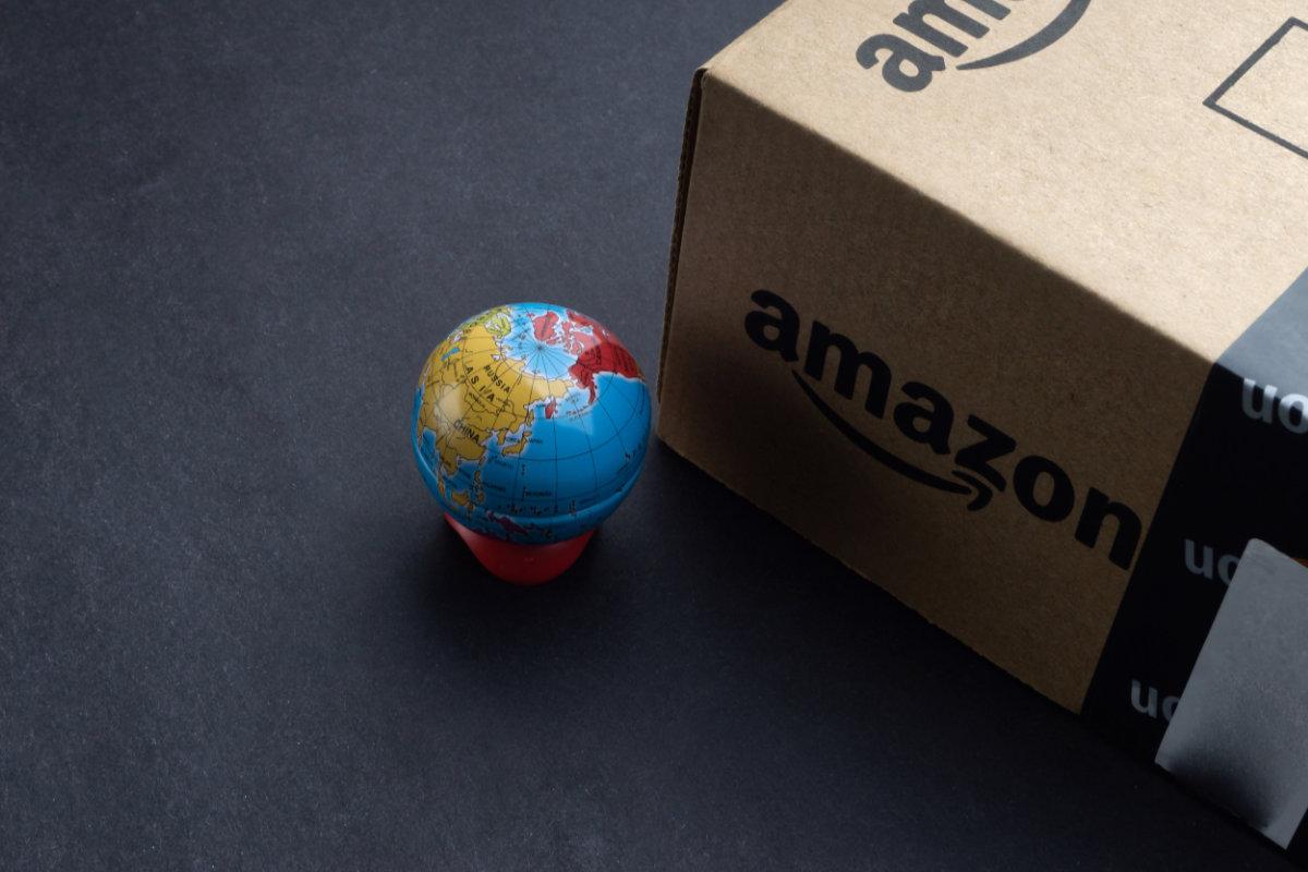 Amazon box with globe showing China