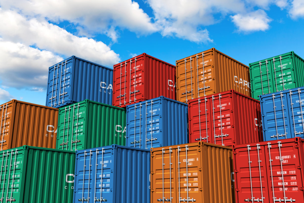 Ocean freight containers stacked