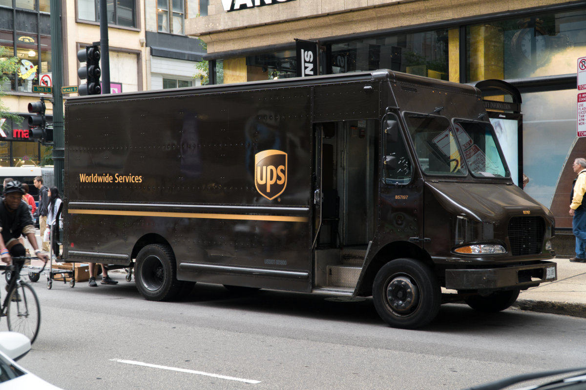 UPS truck delivering in Chicago